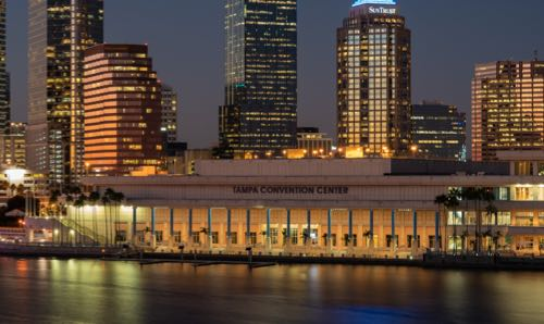 Night view of the Tampa Convention Center